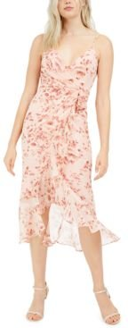 Surplice Floral-Print Midi Dress