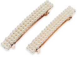 2-Pc. Gold-Tone Imitation Pearl Hair Barrette Set, Created for Macy's