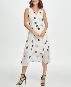 Dot Belted Wrap Dress