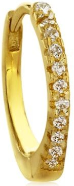 Cubic Zirconia Pave 10K Gold-Tone Sterling Silver-Tone Ear Cartilage Hoop