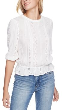 Cinched-Waist Eyelet Top