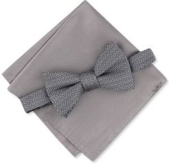 2-Pc. Pre-Tied Geo Bow Tie & Solid Pocket Square Set, Created for Macy's