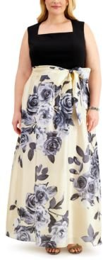 Plus Size Floral-Skirt Gown