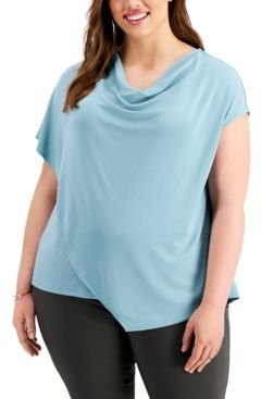 Plus Size Asymmetrical Drape-Neck Top, Created for Macy's