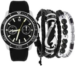 Black Strap Watch 47.5mm Gift Set