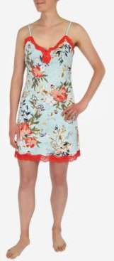 Lace-Trim Floral Print Nightgown