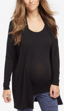 Maternity Open-Front Draped Cardigan