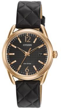 Drive from Citizen Eco-Drive Women's Black Quilted Leather Strap Watch 34mm FE6083-13E