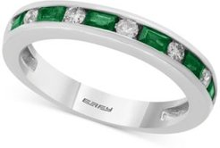 Bridal by Effy Emerald (1/2 ct. t.w.) & Diamond (1/6 ct. t.w.) Band in 18k White Gold
