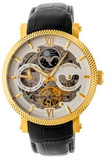 Automatic Aries Gold & Silver & Black Leather Watches 43mm