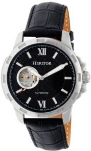 Automatic Bonavento Silver & Black Leather Watches 44mm