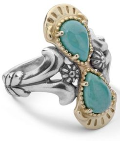 Two-Tone Green Turquoise Gemstone Ring in Sterling Silver