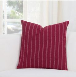 "Burlap Brick Ticked Stripe 20"" Designer Throw Pillow"