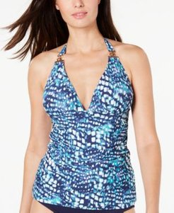 Printed Halter Tankini Top Women's Swimsuit