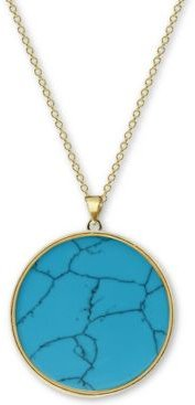 """Reconstituted Turquoise 27"""" Pendant Necklace in 18k Gold-Plated Sterling Silver"""