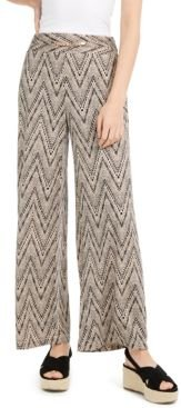 Petite Hardware-Trim Printed Pants