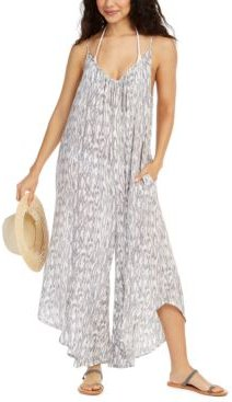 Printed Flowy Cover-Up Jumpsuit Women's Swimsuit