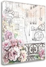 """Paris Roses I by Beth Grove Giclee Print on Gallery Wrap Canvas, 18"""" x 18"""""""