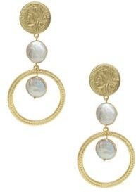 Your Majesty Coin Pearl Drop Earrings