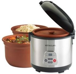 2 in 1 Clay Rice and Slow Cooker, 4.2 Qt
