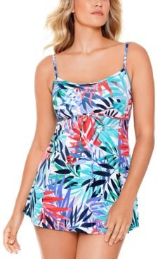 Palm Springs Printed Empire Tummy Control Swimdress, Created for Macy's Women's Swimsuit