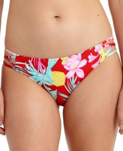 Juniors' Tropic Printed Strappy-Side Hipster Bikini Bottoms, Created for Macy's Women's Swimsuit