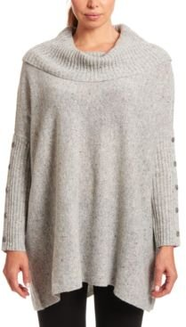 Button-Sleeve Cowlneck Sweater