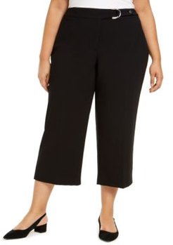 Plus Size Belted Hardware-Detail Culotte Pants, Created For Macy's