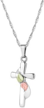 """Cross Pendant 18"""" Necklace in Sterling Silver with 12K Rose and Green Gold Details"""