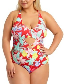 Trendy Plus Size Tropical Printed Cutout One-Piece Swimsuit, Created For Macy's Women's Swimsuit