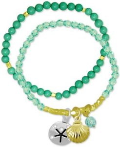 2-Pc. Set Shell Charm & Imitation Turquoise Beaded Stretch Bracelets in Gold- and Fine Silver-Plate