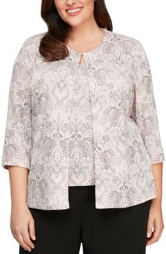 Plus Size Printed Jacket and Top