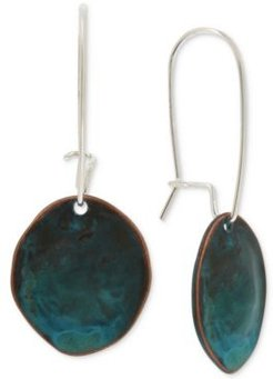 Silver-Tone Patina Sculptural Disc Linear Drop Earrings