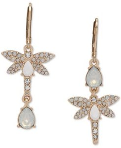 Gold-Tone Pave & Stone Dragonfly Mismatch Drop Earrings