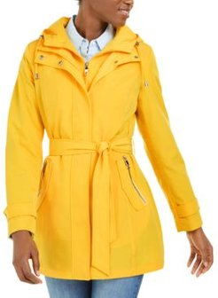 Hooded Belted Water-Resistant Raincoat