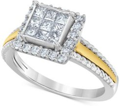 Diamond Princess Cluster Halo Engagement Ring (3/4 ct. t.w.) in 10k Gold & White Gold