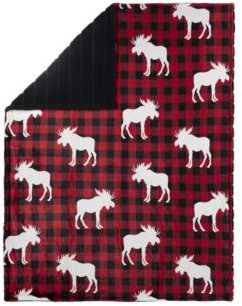 Safdie & Co. Inc Knit Printed Throw Faux Fur Reversible Plaid Moose