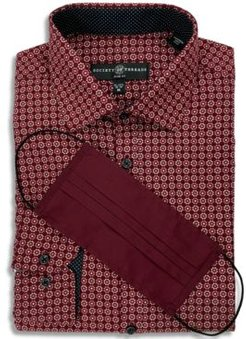 Receive a Free Face Mask with purchase of the Society of Threads Men's Slim-Fit Non-Iron Stretch Flower Medallion Dress Shirt