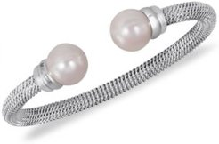 Stainless Steel Man-Made Pearl Bangle Bracelet (10mm)