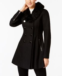 Faux-Fur-Collar Double Breasted Skirted Coat, Created for Macy's