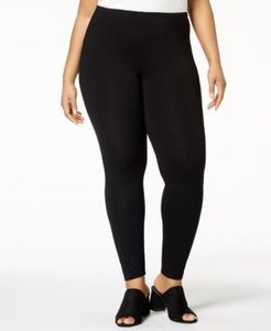 System Plus Size Jersey Knit Ankle Leggings