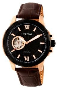 Automatic Bonavento Rose Gold & Black Leather Watches 44mm