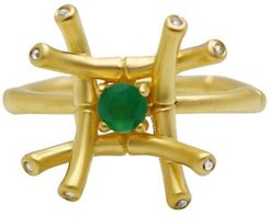 Green Agate (1/4 ct. t.w.) & Diamond & White Topaz Ring in 18k Gold-Plated Sterling Silver