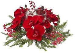 Orchid, Berry and Pine Holiday Candelabrum
