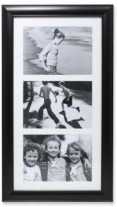 """Black Collage Frame - Three Opening Gallery Frame - 5"""" x 7"""""""