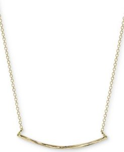 """Textured Curved Bar 18"""" Pendant Necklace in Gold-Plated Sterling Silver"""