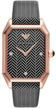 Black & White Chevron Leather Strap Watch 24x35mm
