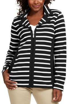 Petite Striped Zip-Up Jacket, Created for Macy's