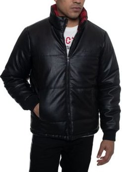 Faux Leather Quilted Puffer Hipster Jacket with Buffalo Plaid Fleece Collar Trim