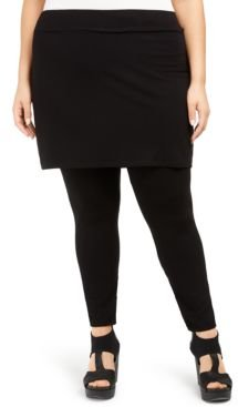 System Plus Size Stretch Jersey Knit Skirted Leggings, Created for Macy's